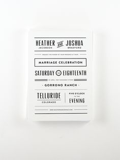 Clean, modern black and white wedding invitation