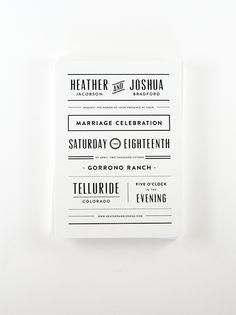 Clean, modern black and white wedding invitation