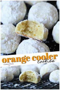 These Melt-In-Your-Mouth Orange Cooler Cookies are citrusy, sweet, buttery and coated in powdered sugar! Easy Cookie Recipes, Cookie Desserts, Gourmet Recipes, Baking Recipes, Dessert Recipes, Gourmet Cookies, Julia Childs, Snowball Cookies, Yummy Cookies