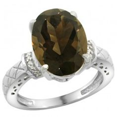 Sterling Silver Diamond Natural Smoky Topaz Ring Oval 14x10mm.