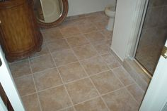 We built a bathroom in this basement.  This is the tile floor.
