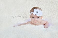 Baby Headband... White Headband... Flower Girl Headband... Baptism Headband. $12.50, via Etsy.