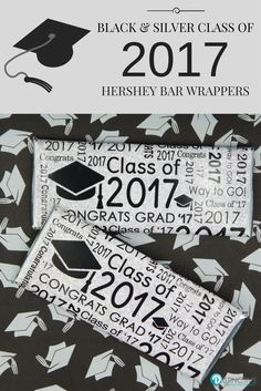 This Black and Silver Class of 2017 candy bar wrappers for Hershey chocolate bars set includes: 12 pre-cut, self-adhesive, Class of 2017 Stickers, 12 silver foil wrappers for Hershey chocolate bars an Graduation Party Supplies, Graduation Cap Decoration, Graduation Invitations, Graduation Ideas, Graduation Gifts, Hershey Chocolate Bar, Chocolate Bar Wrappers, Candy Bar Wrappers, Chocolates
