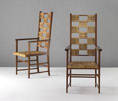Koloman Moser, two chairs, 1903. #GISSLER #interiordesign