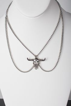 Bull Head Pendant Necklace - SIlver