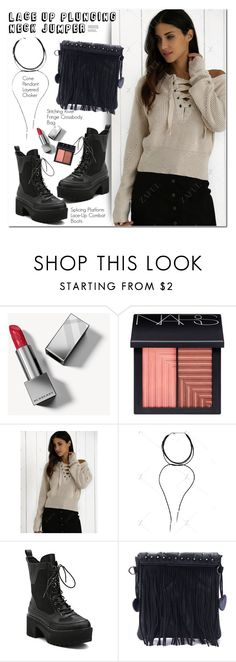 """Lace Up Plunging Neck Jumper"" by oshint ❤ liked on Polyvore featuring Burberry and NARS Cosmetics"