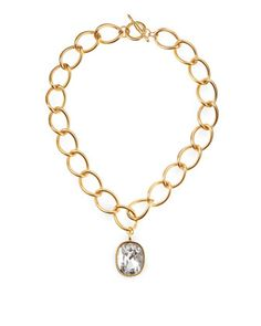 Large Pendant Link Necklace, Clear by Kenneth Jay Lane at Last Call by Neiman Marcus.