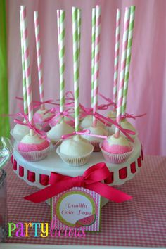 cake pops straw | Cake pops iced in white make a cute statement with pink and green ...