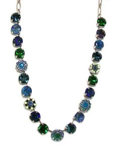 """Mariana Spirit of Design Silver Plated """"Mediterranean Blue"""" Choker Swarovski Crystal and Bead Necklace in Montana Blue/Green Mariana. $194.95. Antique silver plated big jewel choker necklace with swarovski crystals and prong set glass beads. Beads are 1/2 inch diameter. 16 inches long with extender. Earrings to match are E1037 1316 SP. Designed by Michal O. Sejzer"""