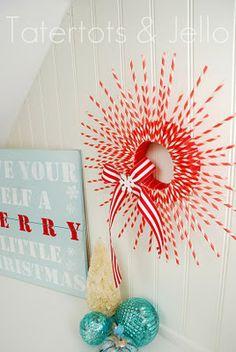 striped paper straw wreath on tatertots and jello