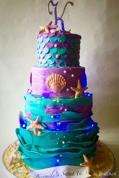 I made this cake for a special client who keeps returning for cakes every year! Ocean Birthday Cakes, Ocean Cakes, Beach Cakes, 15 Birthday, Turtle Birthday, Mermaid Birthday, Birthday Ideas, Themed Wedding Cakes, Themed Cakes