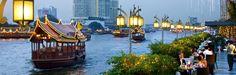Chao Phraya River as seen from The Oriental's Riverside Terrace in Bangkok.