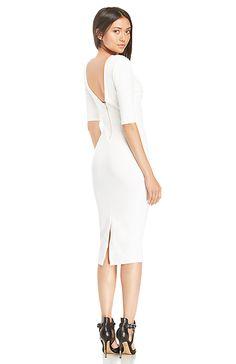 DAILYLOOK Powerful Bodycon Midi Dress in White XS - L | DAILYLOOK