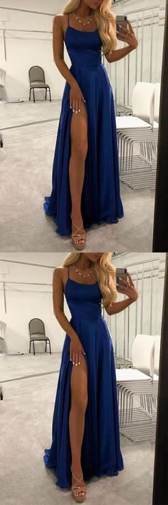 Simple Blue Spaghetti Straps Long Prom Dresses Evening Dress with Thigh Slit blue&; Simple Blue Spaghetti Straps Long Prom Dresses Evening Dress with Thigh Slit blue&; Dresses Elegant, Cute Prom Dresses, Dance Dresses, Ball Dresses, Homecoming Dresses, Pretty Dresses, Sexy Dresses, Fashion Dresses, Dress Prom