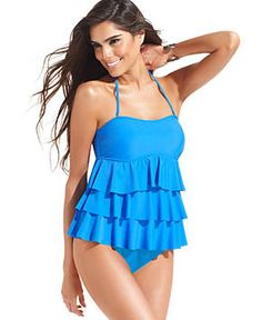 Island Escape Swimsuit, Tiered Ruffle Tankini Top & Solid Brief Bottom - Womens Swimwear - Macy's