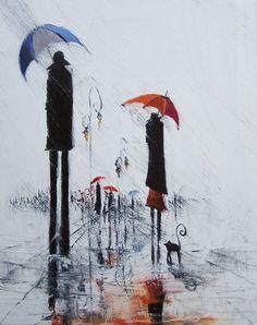 rainy mood from Justyna Kopania Umbrella Art, Under My Umbrella, Rainy Mood, Rainy Days, I Love Rain, Rain Art, Singing In The Rain, Inspiration Art, Illustrations