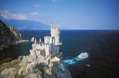 Ay-Petri Cable Car view of Swallow's Nest - Yalta, Ukraine