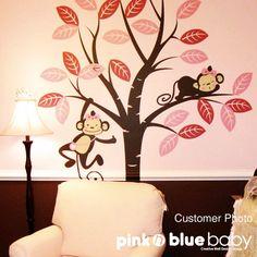 Girl Monkeys Decal Monkey Tree Decal  Nursery by pinknbluebaby, $86.00