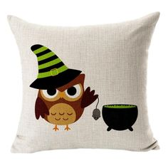 2017 Halloween Cotton Linen Blended Owl Pillow Case Square, Aug 25