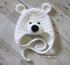 Crochet Polar Bear Hat Pattern // repeat crafter me