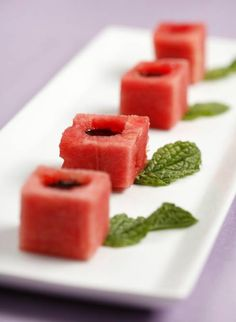 Watermelon Cubes with Balsamic Syrup