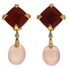 Carnelian Rose Quartz Diamond Gold Drop Earrings   From a unique collection of vintage clip-on earrings at https://www.1stdibs.com/jewelry/earrings/clip-on-earrings/