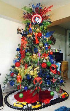 Superhero themed Christmas tree