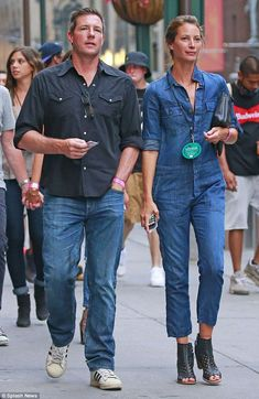 Handsome couple: Christy and husband Edward Burns, pictured in July, walk together in New ...