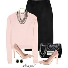 Stylish outfit idea to copy ♥ For more inspiration join our group Amazing Things ♥ You might also like these related products: - Tops & Tees ->. Work Fashion, Fashion Looks, Fashion Outfits, Womens Fashion, Fashion Trends, Style Work, My Style, Look Rose, Look Office