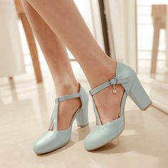 British Style Work T Strap Women pu Leather Vintage Shoes Ladies High Chunky Heel Pumps