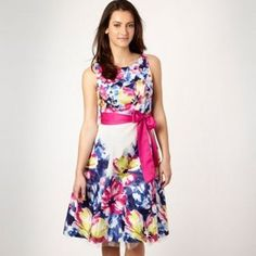 ShopStyle: Pink floral border print prom dress