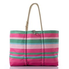 6ce150370bee Pink and Green Ogunquit Beach Tote Sea Bags Maine