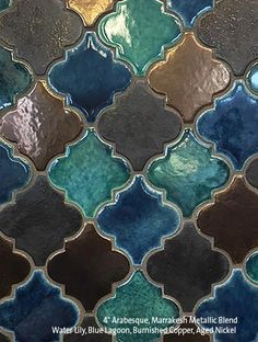 "4"" Arabesque Marrakesh Blend, Blue Lagoon, Water Lily, Burnished Copper & Aged Nickel"