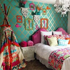 Small Room Bedroom, Small Rooms, Bedroom Decor, Small Spaces, Gypsy Bedroom, Bedroom Ideas, Teen Bedroom, Bedroom Designs, Cheap Home Decor