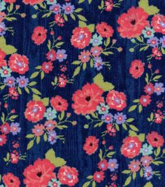 Snuggle Flannel Fabric-Navys Floral