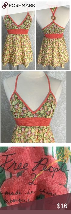 Free People Tank Top Sz 2 Orange Green Babydoll Measurements: in inches  ⭐️underarm to underarm: 12 unstretched  ⭐️length: 28.5 Good, gently used Free People Tops Tank Tops