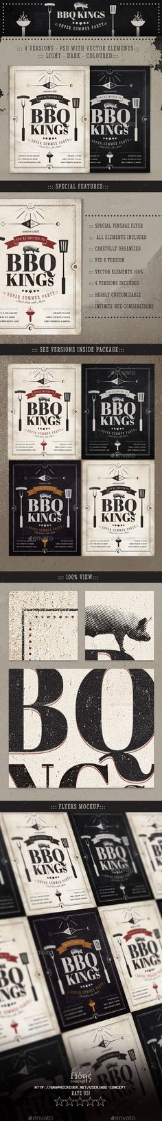 BBQ Kings - Vintage Barbecue Flyer Template #design Download: http://graphicriver.net/item/bbq-kings-vintage-barbecue-flyer/12451507?ref=ksioks