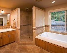 Corner Doorless Shower Design Ideas, Pictures, Remodel and Decor