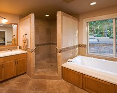 Corner Doorless Shower Design Ideas, Pictures, Remodel and Decor
