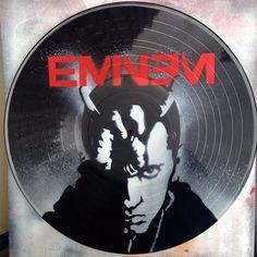Eminem vinyl record spray paint handmade decoration clock stencil by GoVinyls on Etsy