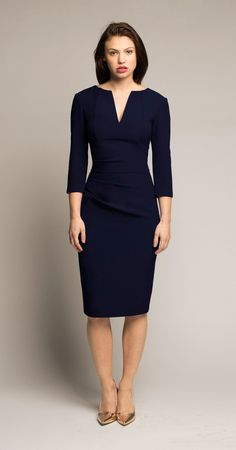 Eden Row Lourdes Dress Navy I have been complimented on this dress the first day I wore it. Hourglass Outfits, Skirt Fashion, Fashion Dresses, Stylish Work Outfits, Professional Wardrobe, Flattering Dresses, Office Looks, Office Fashion, Work Attire