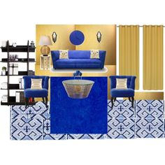 Royal Blue and Gold by vonda-brooks on Polyvore featuring interior, interiors, interior design, home, home decor, interior decorating, Arteriors, The Velvet Chair Company, Hokku Designs and HUGO
