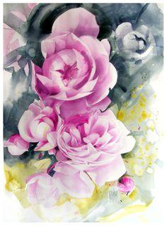Karina Jaźwińska/ Watercolour/ Pink garden/ size: 70x50 cm