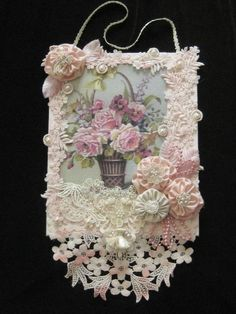 One of a Kind Mixed Media Collage - Floral Design - Wall Hanging