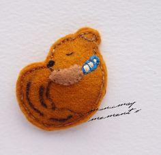 Snoozing Squirrel  cute hair clip or brooch  by MinimayMemento
