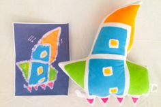 Custom made stuffed toys from your kids art- Rocket ship Budsie