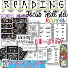 HUGE SET FOR YOUR JOURNEYS 1st GRADE READING FOCUS WALL!! {RAINBOW CHEVRON} 1st GRADE READING FOCUS WALL SETTHIS PRODUCT HAS BEEN UPDATED TO INCLUDE 2011 AND 2014 WORDS TO KNOW, SHARED STORIES AND ESSENTIAL QUESTIONS.Banner, editable Labels and Flip Charts!!