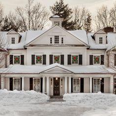 American Farmhouse, Modern Farmhouse, Georgian Style Homes, White Houses, Home Fashion, Curb Appeal, Custom Homes, Colonial, My House