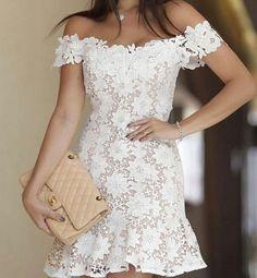 Off Shoulder White Lace Sheer Mini Dress White Bandage Dress, Sheer Mini Dress, White Dress, Bodycon Dress, Bandage Dresses, Dress Lace, Dress Outfits, Fashion Dresses, Fashion Wigs