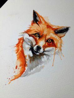 Fox, water colour